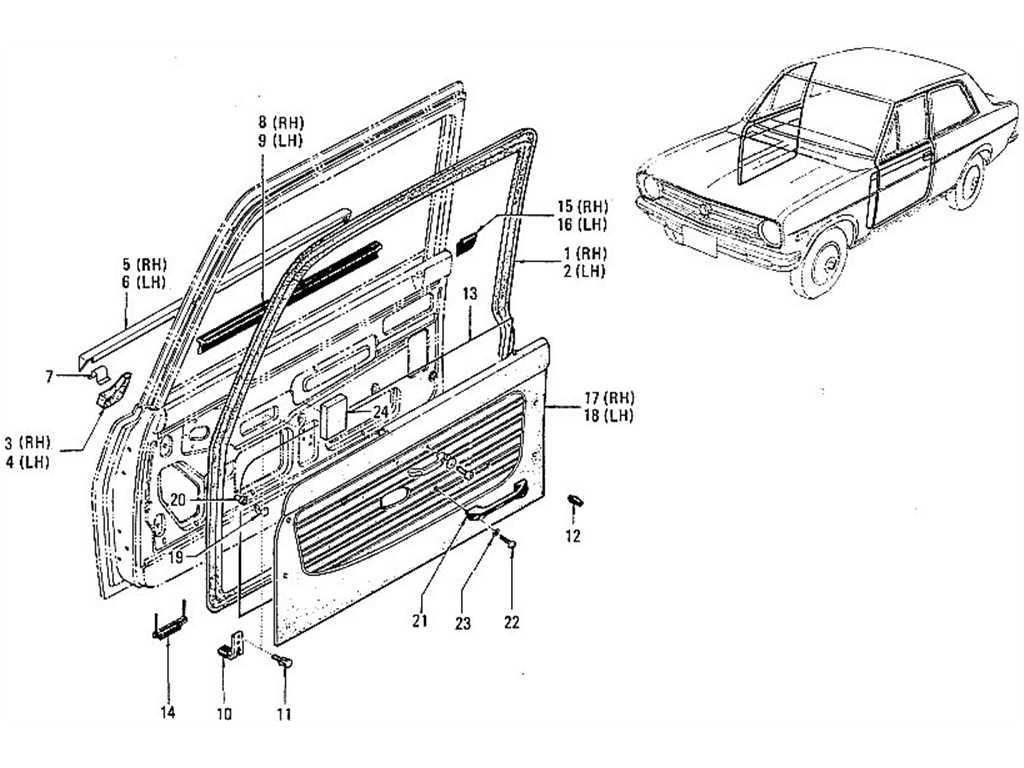 Datsun 1200 (B110) Front Door Moulding, Finish & Arm Rest