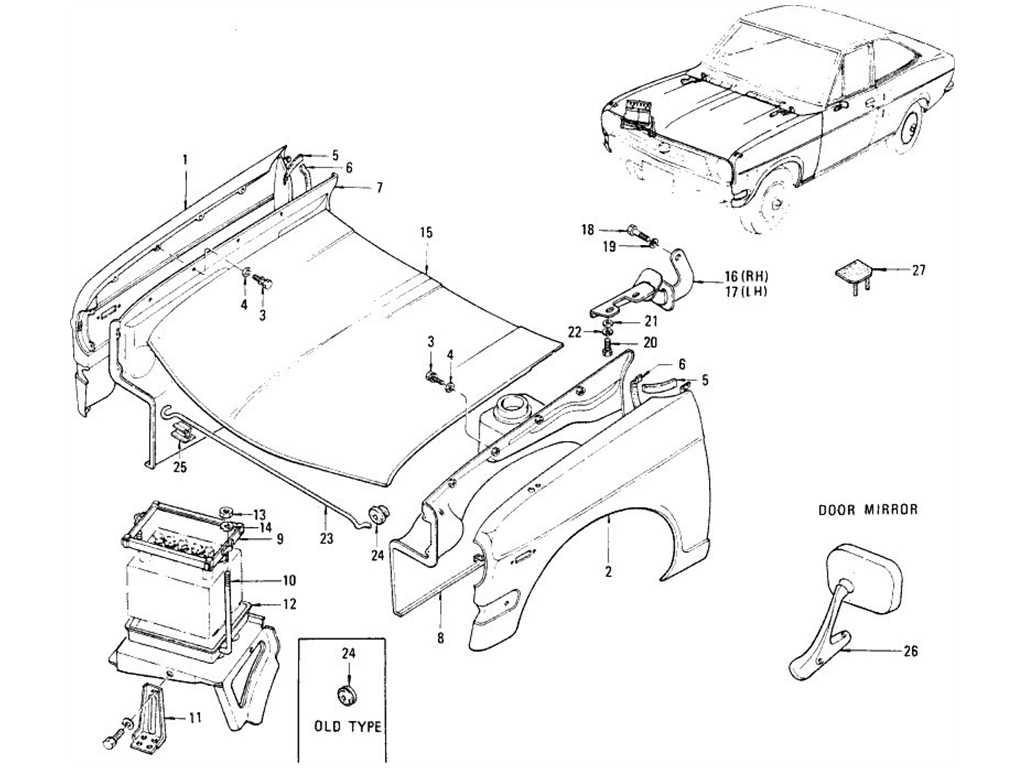 Datsun 1200 (B110) Front Fender, Hood Ledge, Hood & Door