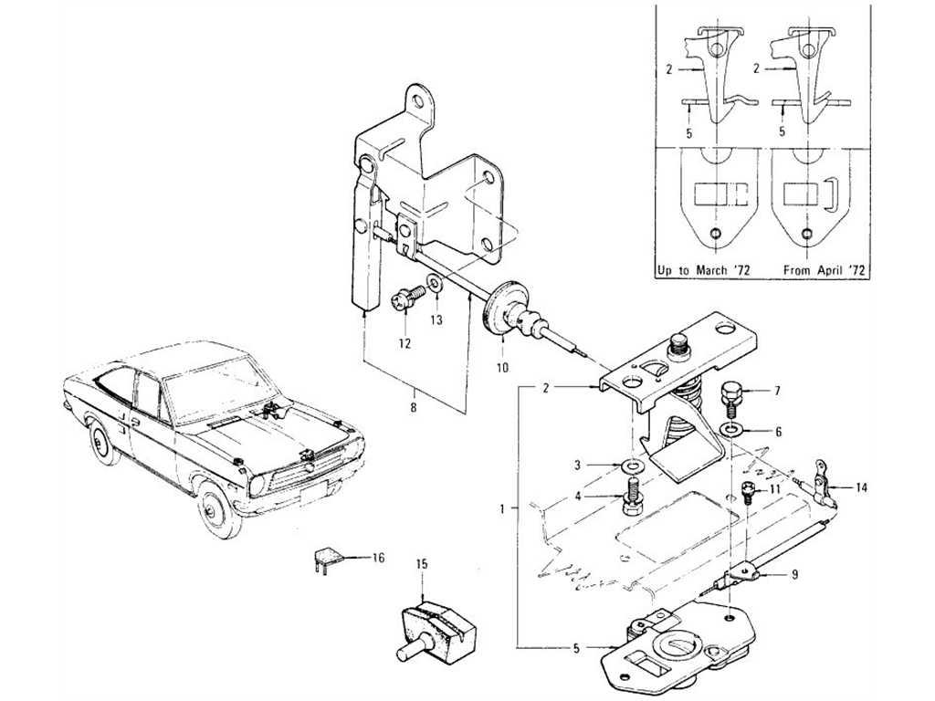 Datsun 1200 (B110) Hood Lock Control (Coupe)