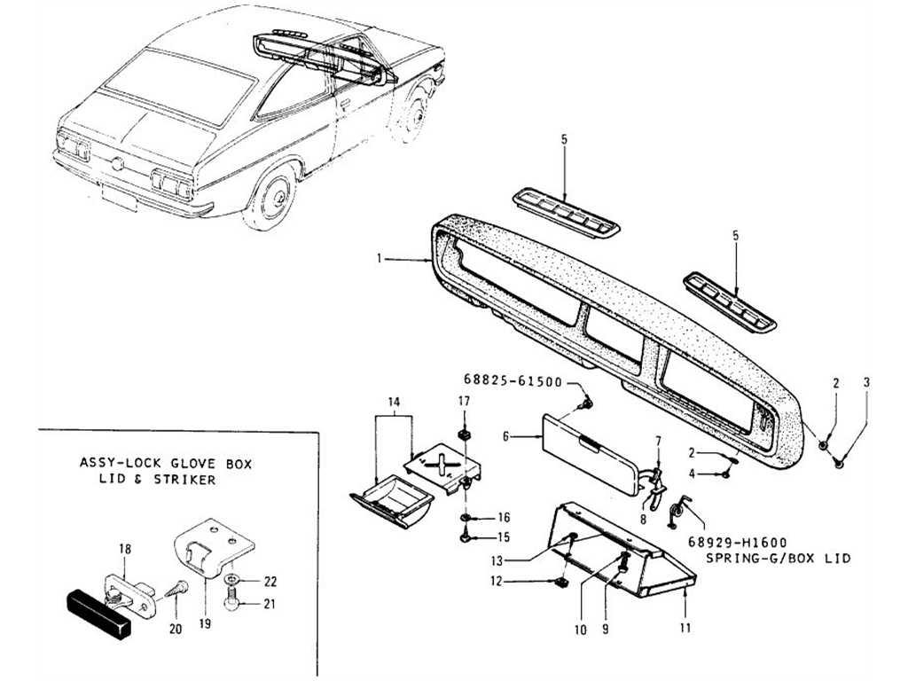 Datsun 1200 (B110) Glove Box & Ash Tray (Coupe)