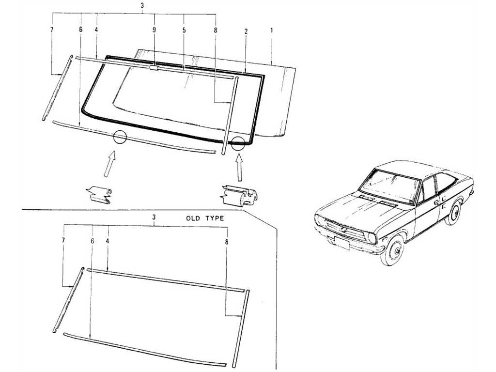 Datsun 1200 (B110) Windshield Glass, Weatherstrip