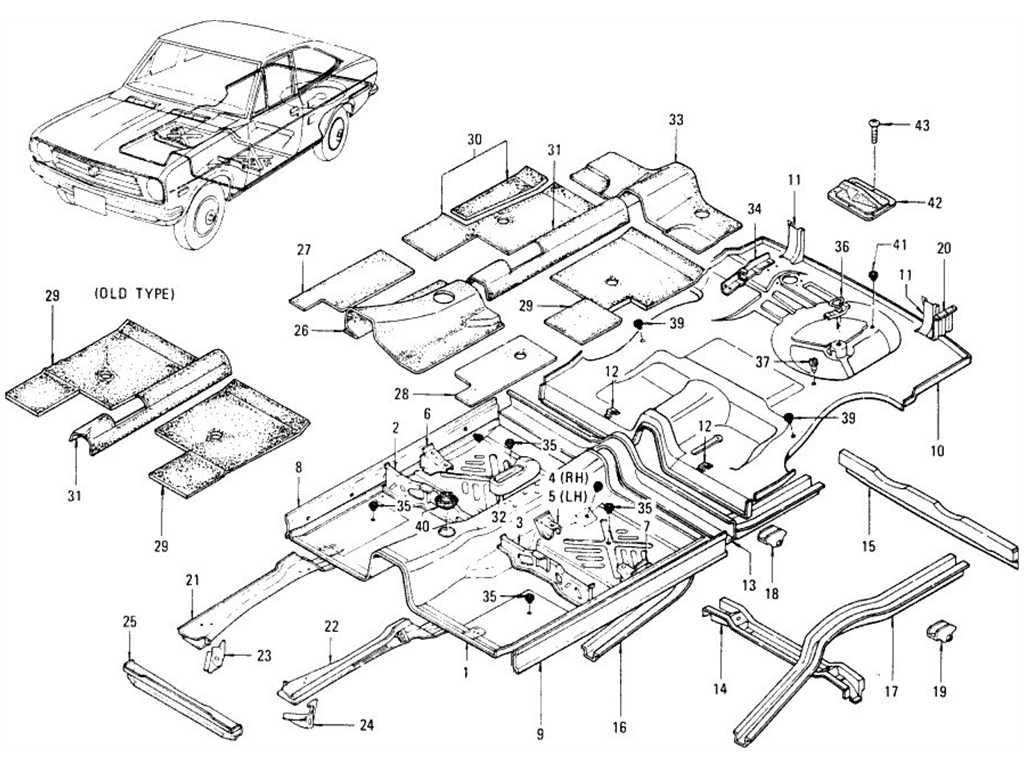 Datsun 1200 (B110) Floor Panel & Fitting (Coupe)