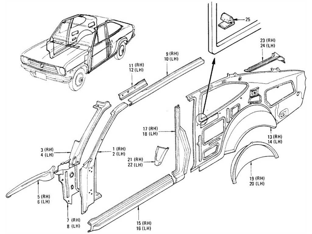 Datsun 1200 (B110) Body Side Panel & Rear Wheel House (Coupe)