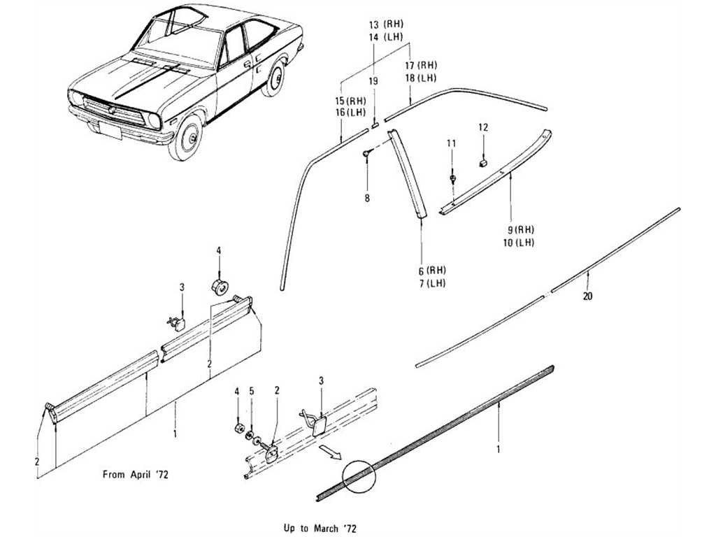 Datsun 1200 (B110) Body Side Fitting & Moulding (Coupe)