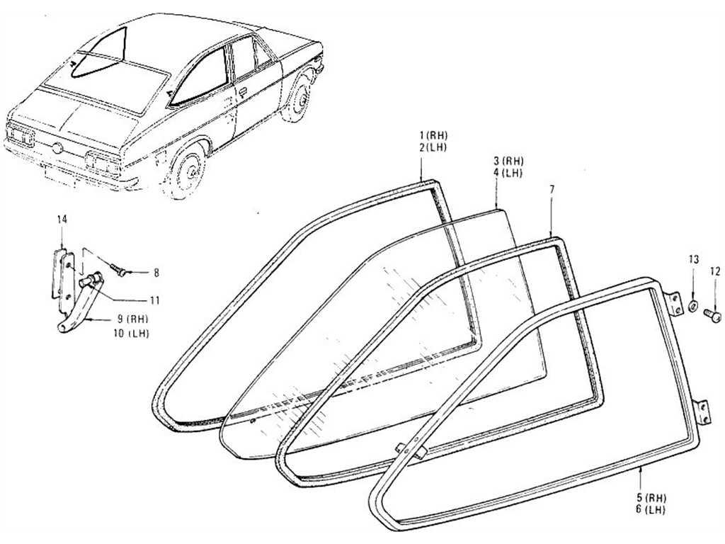 Datsun 1200 (B110) Side Window (Coupe)