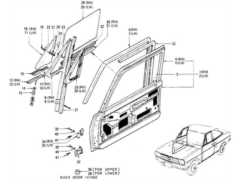 Datsun 1200 (B110) Front Door Panel, Glass & Door