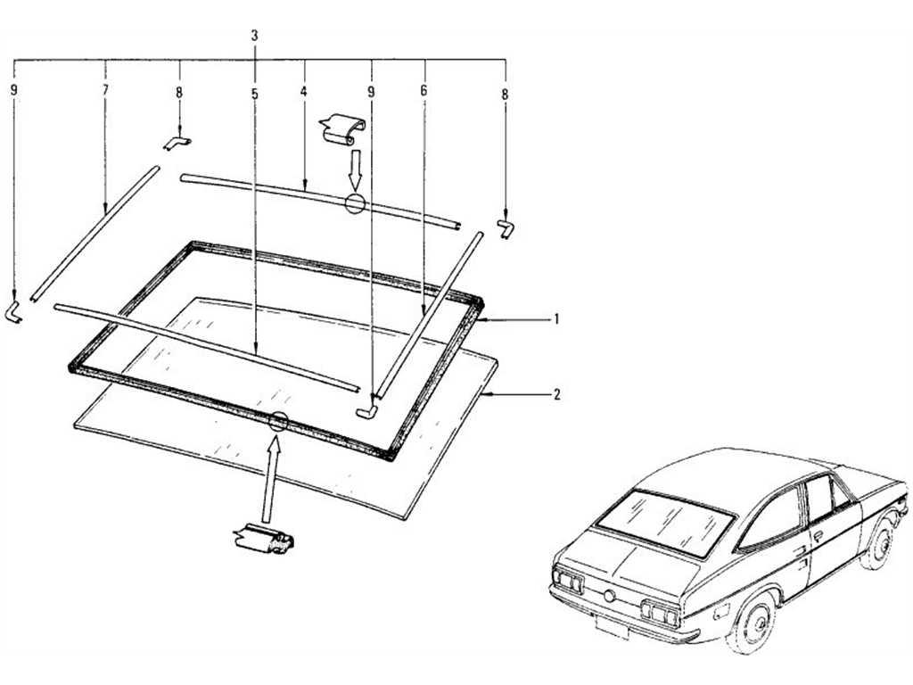 Datsun 1200 (B110) Rear Window (Coupe)