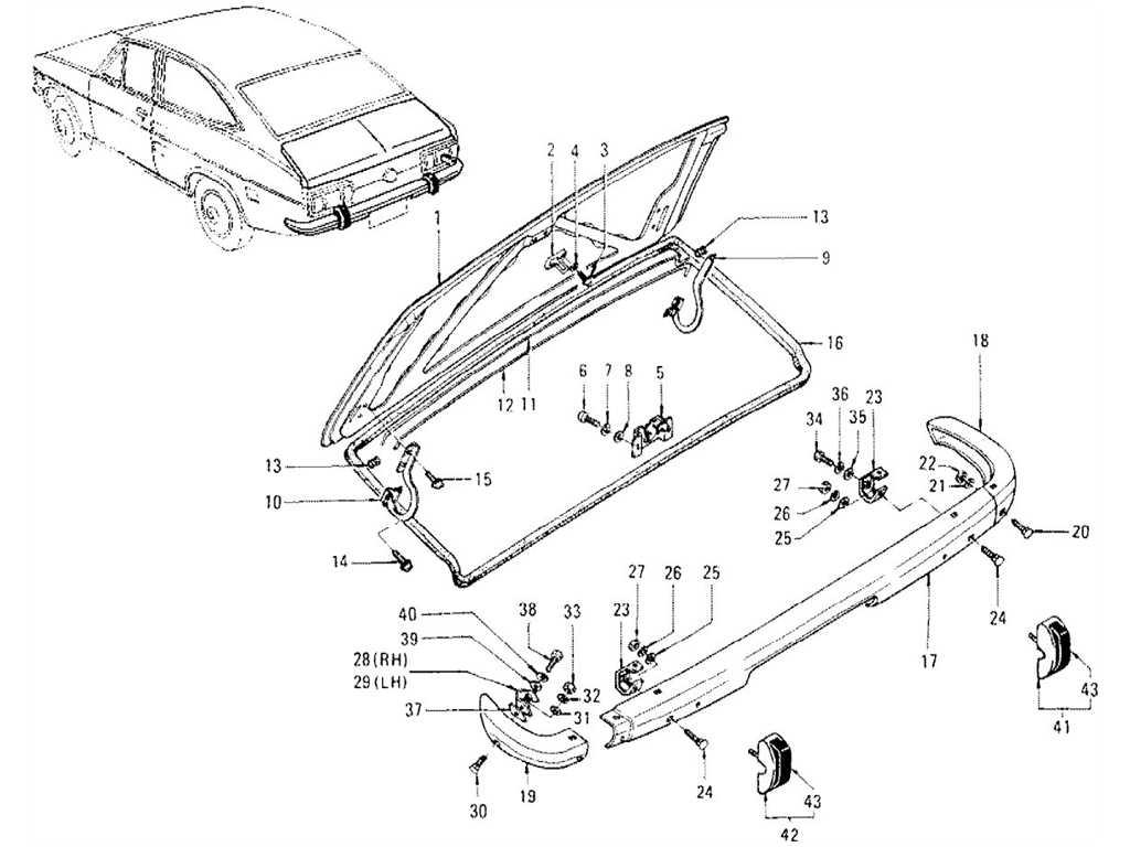 Datsun 1200 (B110) Trunk Lid & Rear Bumper (Coupe)