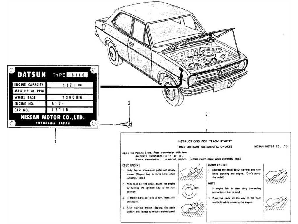 Datsun 1200 (B110) Model No. Plate