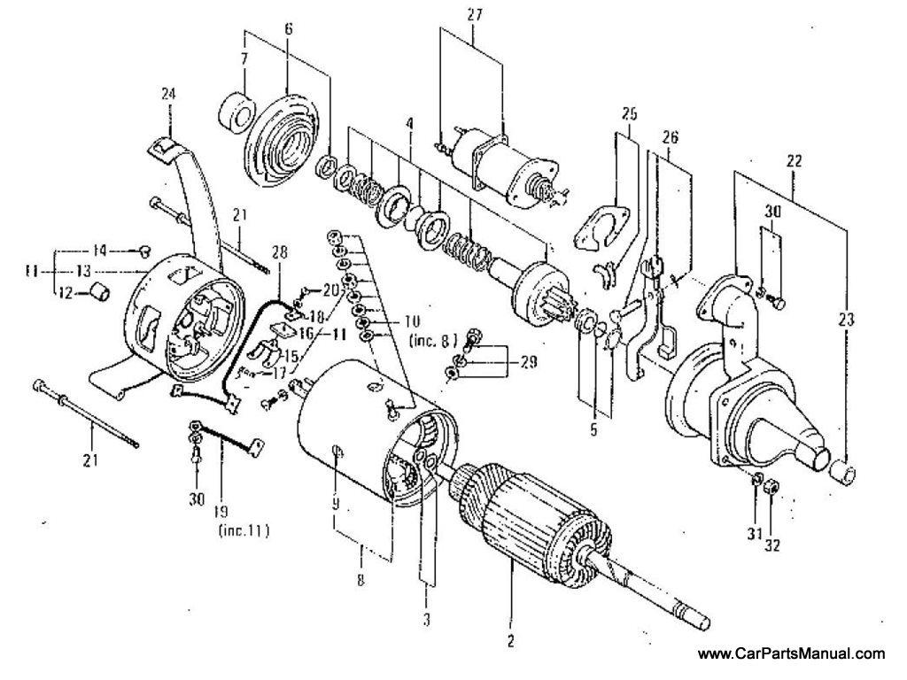 Nissan Patrol 60 Starter Motor Hitachi 1kw To Feb 74