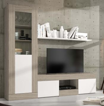Muebles de saln y tv Blanco Madera  Carrefoures