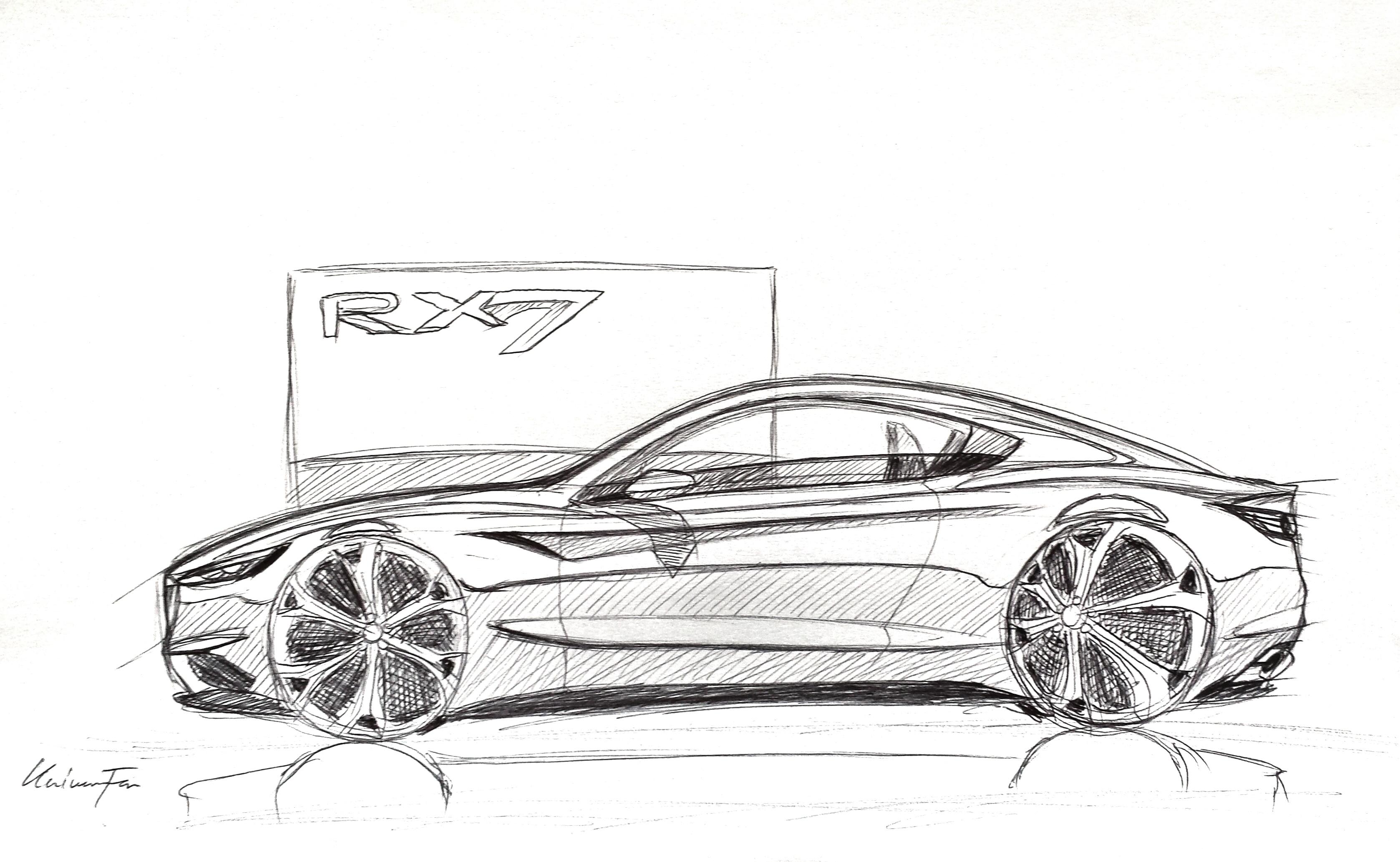 Older pen sketch sketch. New Mazda RX-7