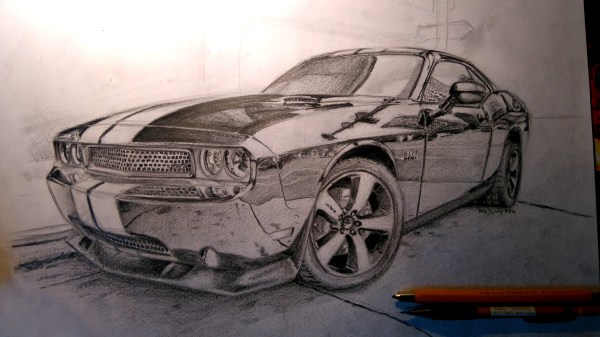 Dodge Challenger Srt8 Pencil Drawing