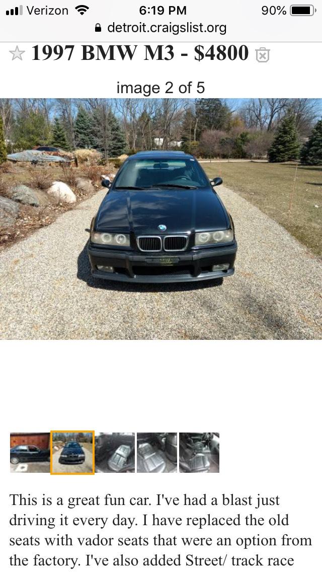 1997 Bmw E36 M3 For Sale : Craigslist, Thxsiempre