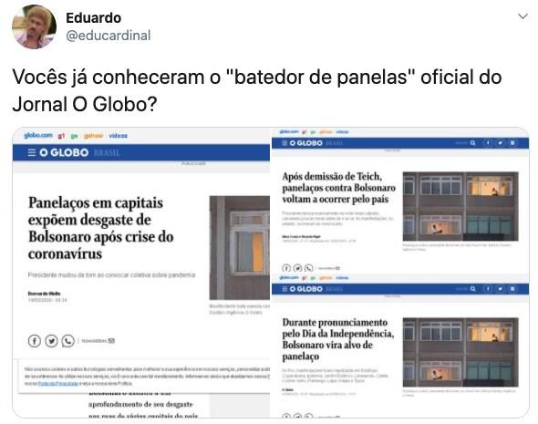 Jornal O Globo usou imagem repetida de panelaço em três reportagens diferentes