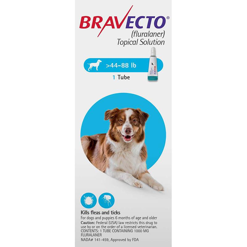 Bravecto For Dogs 44-88 lbs (20-40 kg)   Topical Flea Treatment - PetBucket