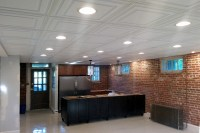 Basement with Insulated Ceiling Tiles