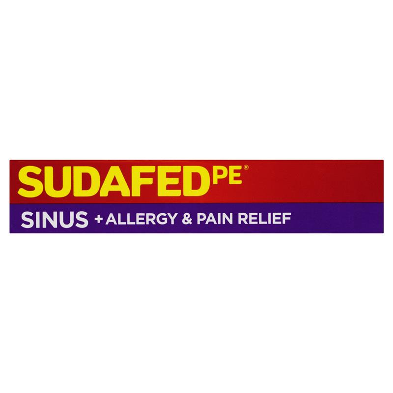 Buy Sudafed PE Sinus and Allergy Pain Relief 24 Tablets Online at ...