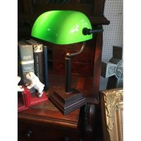 Old Style bankers desk lamp with green shade