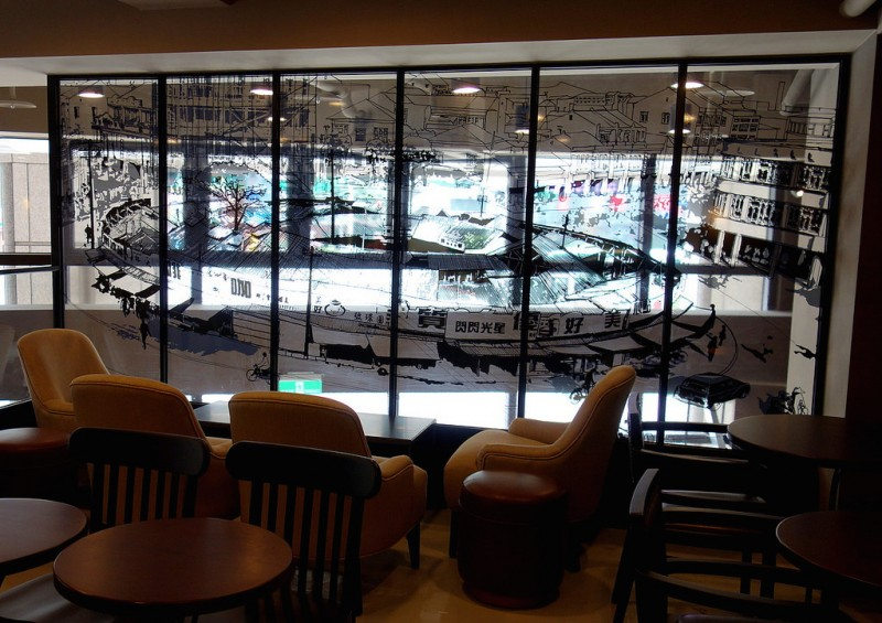 starbucks taipei yuanhuan store branch zhongshan ningxia window panel mezzanine glass