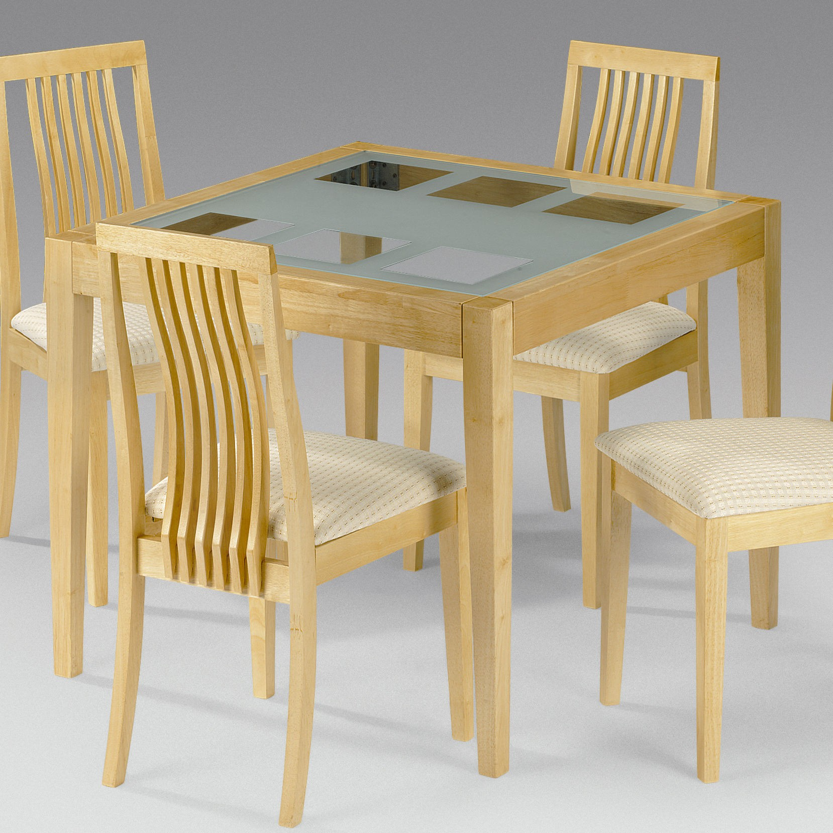 Wooden glass top 4 chair dining table  ClickBD