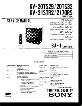 Diagrama/Manual SONY KV-20TS29, KV-20TS32, KV-21STR2, KV