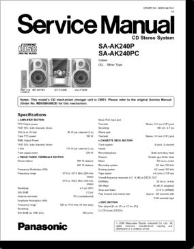 Diagrama/Manual Panasonic Panasonic SA-AK240P