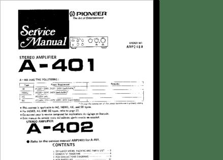 Diagrama/Manual PIONEER A-401, A-402