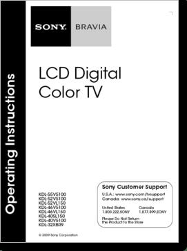 Diagrama/Manual SONY 55V5100.52V5100.52VL150.46V5100