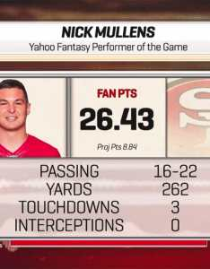 also week yahoo fantasy performer of the game nick mullens rh ers