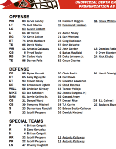Depthhh also browns unofficial depth chart vs steelers rh clevelandbrowns