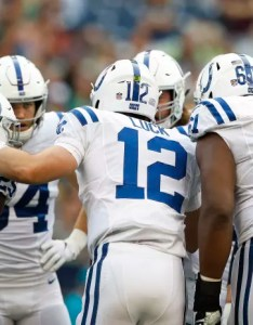 The indianapolis colts huddle up on offense during an nfl preseason football game against seattle also release first unofficial depth chart of regular season rh