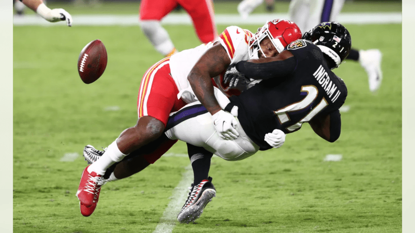 Kansas City Chiefs linebacker Anthony Hitchens (53) during the game between the Kansas City Chiefs and the Baltimore Ravens at M&T Bank Stadium on September 28, 2020