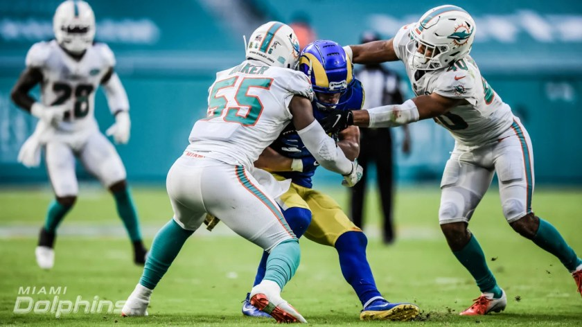 Linebacker Jerome Baker (55) during a Week 8 NFL Football game against the Los Angeles Rams at Hard Rock Stadium in Miami Gardens, FL on November 1st, 2020. (Miami Dolphins)
