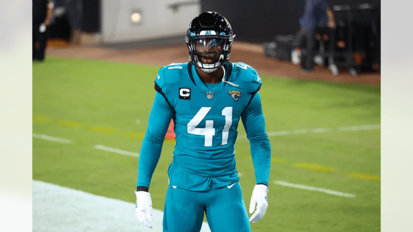 Jacksonville Jaguars linebacker Josh Allen (41) warms up prior to the NFL football game against the Miami Dolphins on Thursday, September 24, 2020 in Jacksonville, Florida. (Logan Bowles/NFL)