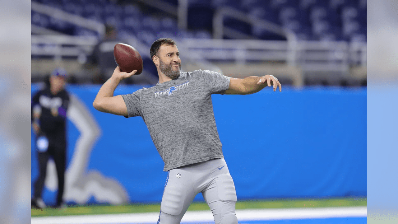 Don Muhlbach warms up before a NFL football game against the Minnesota Vikings Sunday, Oct. 20, 2019 in Detroit. (Detroit Lions via AP).