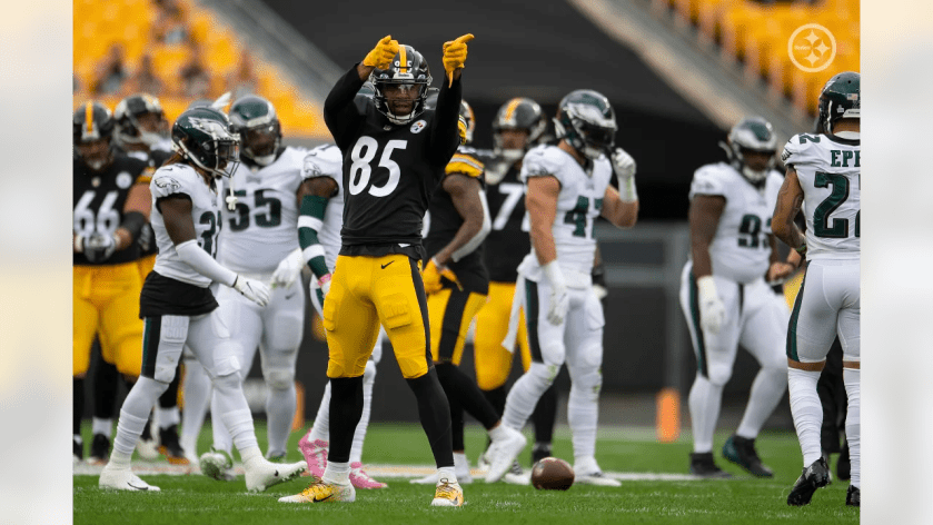 Pittsburgh Steelers tight end Eric Ebron (85) during a regular season game between the Pittsburgh Steelers and the Philadelphia Eagles, Sunday, Oct. 11, 2020 in Pittsburgh, PA. The Steelers defeated the Eagles 38-29. (Karl Roser / Pittsburgh Steelers)