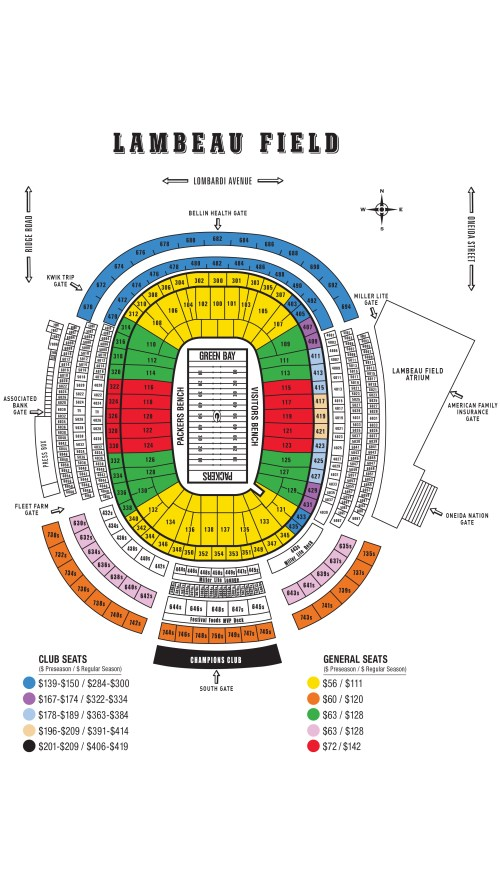 small resolution of green bay packers seating chart