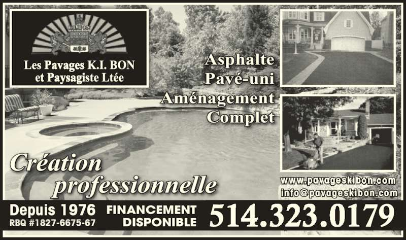 Kibon Pavages Paysagistes Ltée (les)  Saintléonard, Qc