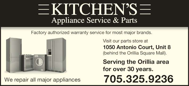 Kitchens Appliance Service  1050 Antonio Crt Orillia ON