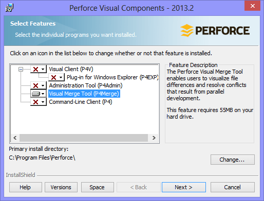 Perforce Installation Wizard - Feature Selection