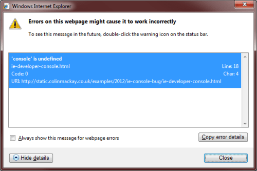 Developer Tools in IE Hides Bug – The Blog of Colin Mackay