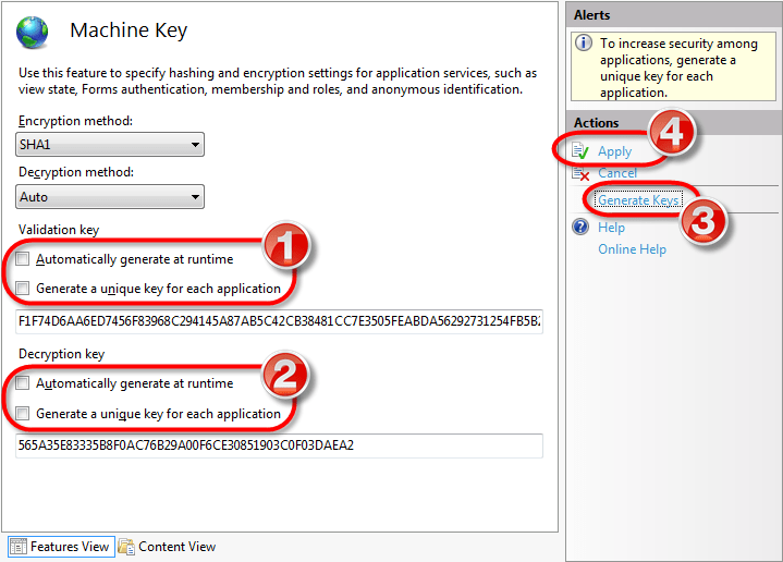 Machine Key Configuration in the IIS Manager