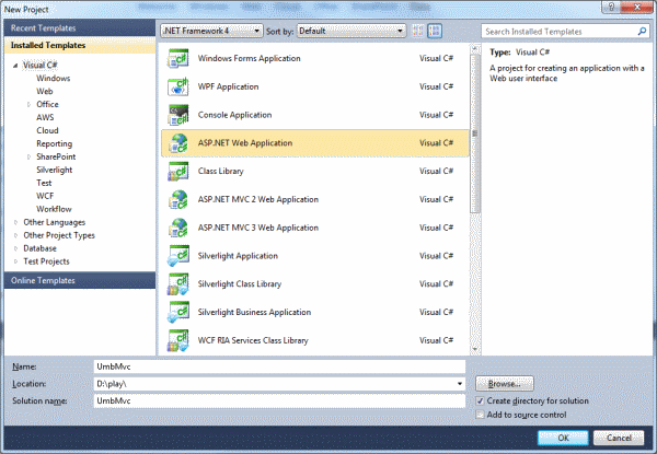 Visual Studio 2010: New Project