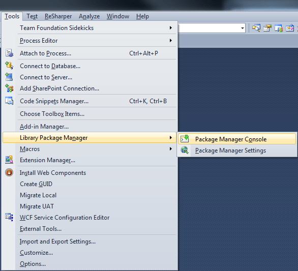 Visual Studio: NuGut Package Manager Console