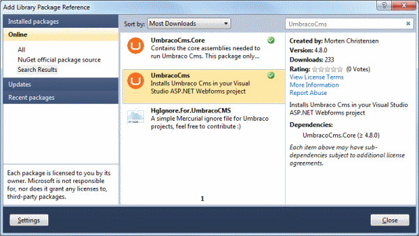 NuGet Package Manager Dialog
