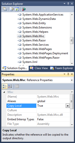 Visual Studio 2010: System.Web.Mvc Copy Local