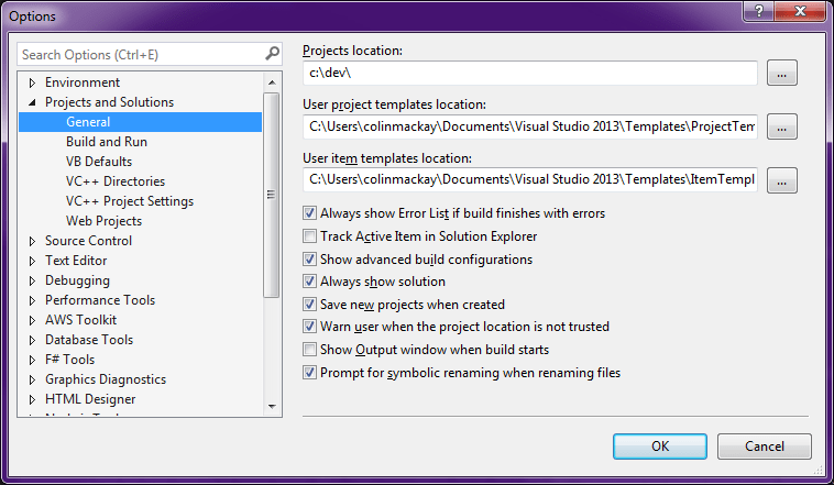 Visual Studio Options dialog
