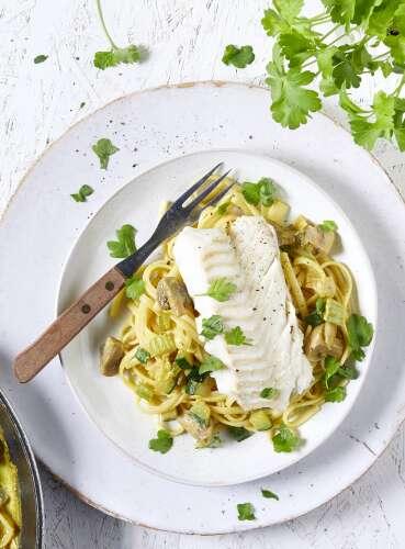 Dos De Cabillaud Au Curry : cabillaud, curry, Recette, Cabillaud, Linguines, Légumes, Crème, Curry, Colruyt, Cuisine
