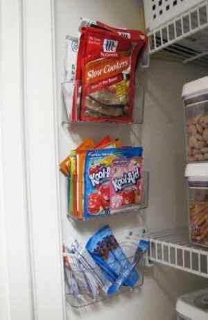 paniers de douche pour faire des rangement dans le placard de la cuisine